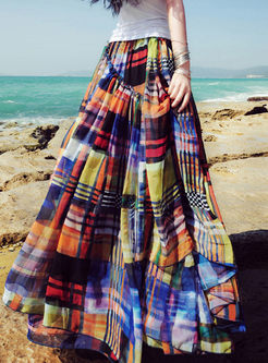 Chic Grid Print Bohemian Long Skirt