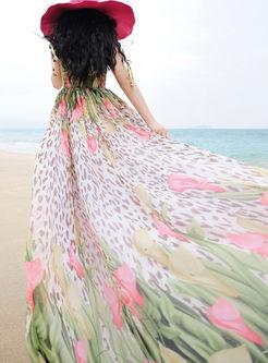 Floral Print Chiffon Strapless Bohemian Maxi Dress