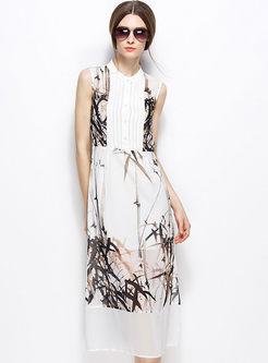 Elegant Silk Bamboo Print Chiffon Maxi Dress