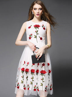 Elegant Mesh Rose Embroidery Patch A-Line Dress