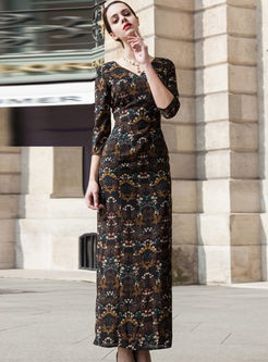 Vintage Floral Print Skinny V-neck Maxi Dress