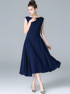 Elegant Blue Big Hem Tight Waist Dress