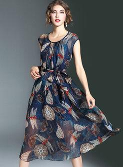 Vintage Dragonfly Print Tight Waist A-Line Maxi Dress