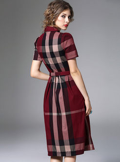 Hit Color Plaid A Line Dress With Belt
