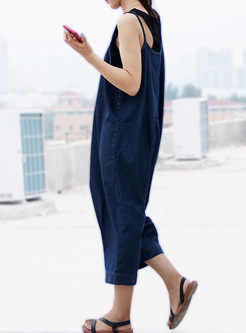 Casual Pure Color Loose Jumpsuit
