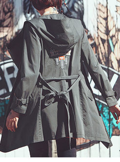 Chic Pure Color Hooded Double-Breasted Trench Coat