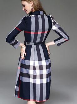 Turn Down Collar Grid Skater Dress