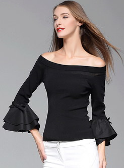Off Shoulder Ruffled Sleeve Solid Knit Sweater