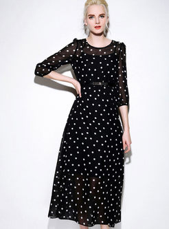 Sexy Chiffon Dot Maxi Dress