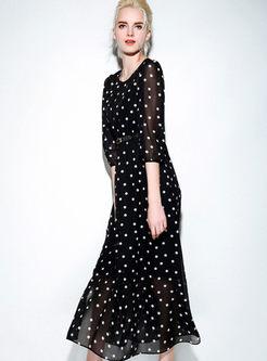 Sexy Chiffon Dot Maxi Dress