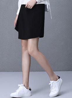 Chic Asymmetric Hem Black Skinny Skirt | Ezpopsy.com