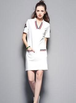 V-Neck Shirt Dress