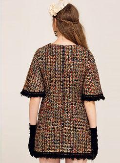 Houndstooth Tassel Fake Pocket Half Shift Dress