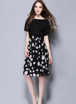 Black Dot Voile Pleated Skirt