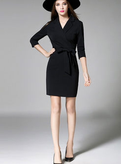 Elegant Temperament Slim V-Neck Bodycon Dress