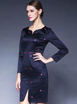 V-Neck Slit Dot Vintage Slim Bodycon Dress
