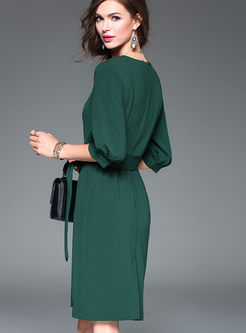 Brief Pure Color Lantern Sleeve Skater Dress