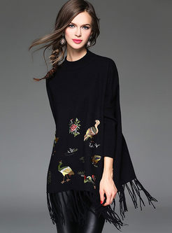 Three Quarter Sleeve Embroidery Tassel Stylish Cashmere Kimono