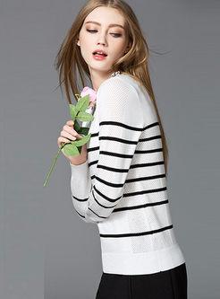 Fashion Stripe Hollow O-neck Sweater