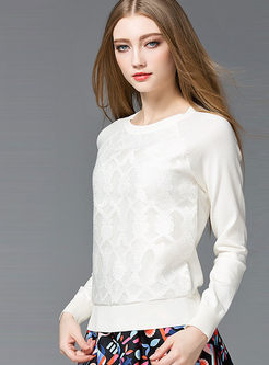 Elegant Lace Stitching Pure Color Sweater