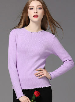 Brief Fashion Wave Pure Color Sweater