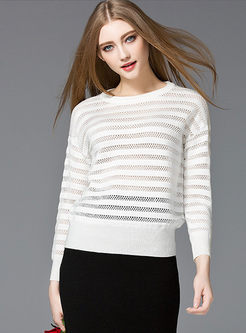 Sexy Stripe Loose Hollow Sweater