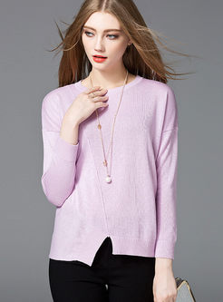 Brief Casual Stitching Slim Sweater