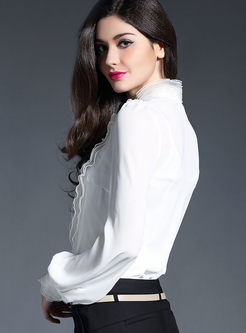 White Mock Neck Lace Blouse