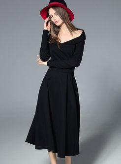 Black v neck belted maxi dress