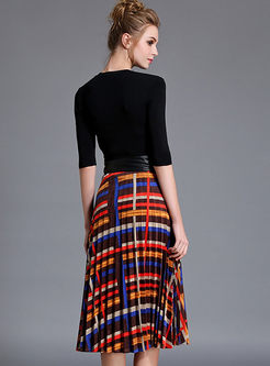 Chic Multicolor Print Slim Two-piece Outfits