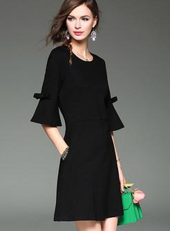 Pure Color Flare Sleeve Cotton A-line Dress