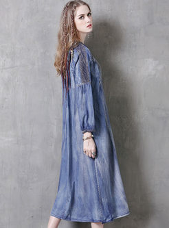 Ethnic Embroidery Single-breasted Denim Maxi Dress