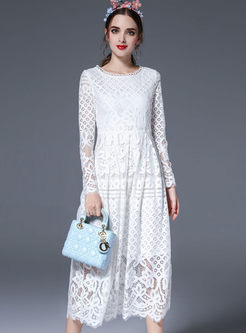 High waist maxi dress white