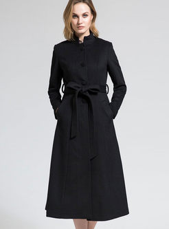 Brief Solid Color Single-breasted Wool Coat