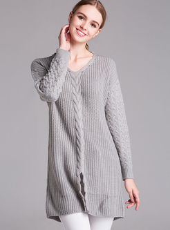 Pure Color V-neck Loose Sweater