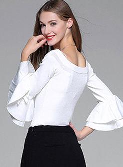 Sexy Slash Neck Flare Sleeve Sweater