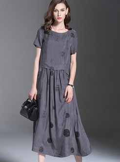 Vintage Elegant Dot Print Loose Maxi Dress