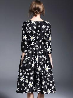 Slim Print Big Hem Skater Dress