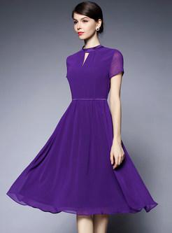 Pure Color Chiffon Midi Dress