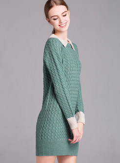 Long Sleeve Loose Patchwork Pullover Sweater
