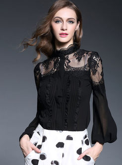 Brief Pure Color Lantern Sleeve Blouse