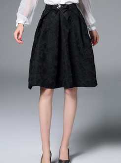 Vintage Stylish Bowknot A-line Elegant Skirt