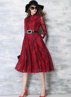 Elegant Lave Wave Pattern Waist A-line Dress