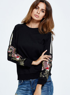 Stylish Embroidered O-neck Hoodies
