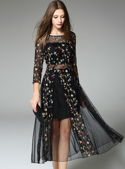 Embroidery Fake Two Piece Stylish Skater Dress