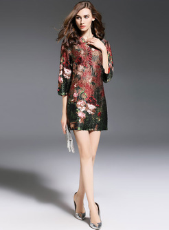 Vintage Floral Print V-neck Straight Dress