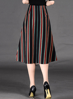 Vintage Vertical Stripe Asymmetric Patch Skirt
