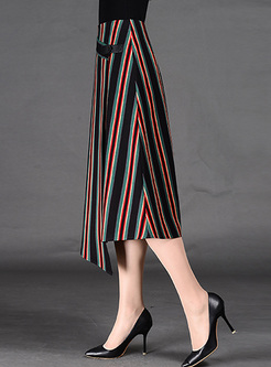 Vintage Vertical Stripe Asymmetric Patch Skirt
