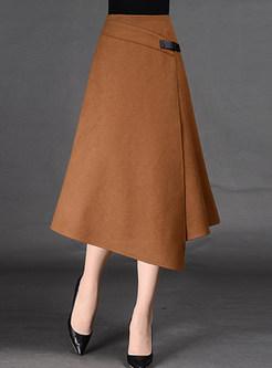 300343d0bfa Asymmetric A-Line Split Wool Skirt ...
