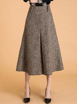 Warm Woolen Skirts Womens Winter 2017 Fashion High Waist Wool Pleated Keebo